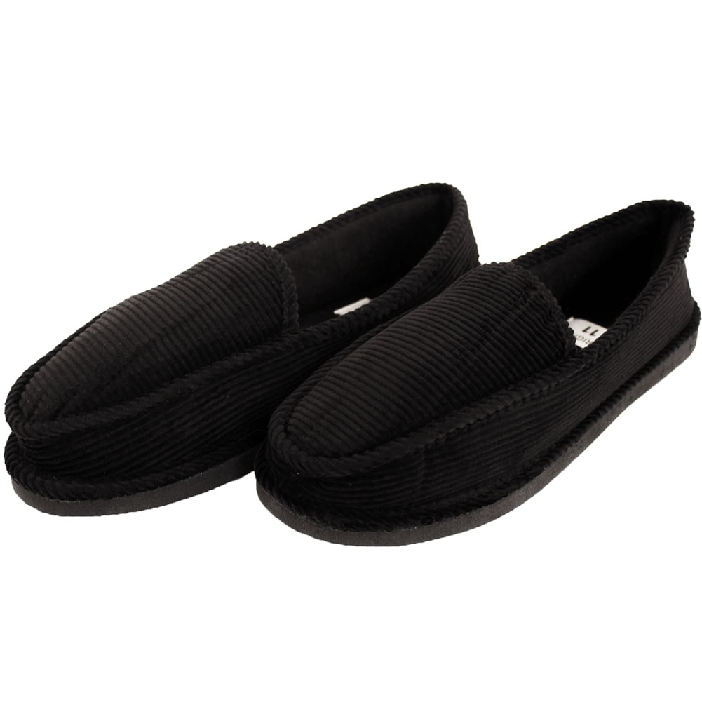 Mens Slippers House Shoes Corduroy Color Slip On Moccasin ...