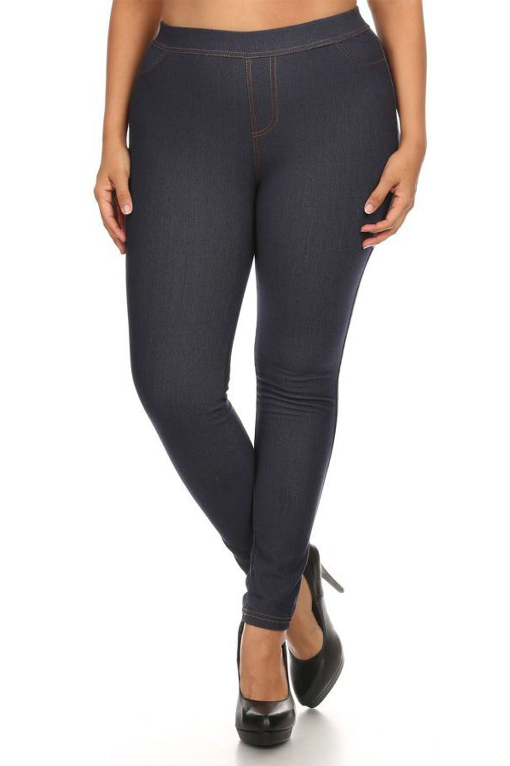 These stretch knit leggings are so comfy, you'll feel amazing in them all day long. Made with an elastic waistband, you can bend and move freely without ever feeling bound in. A great pairing for our perfect tunic tops, athleisure wear or for wearing around the house.