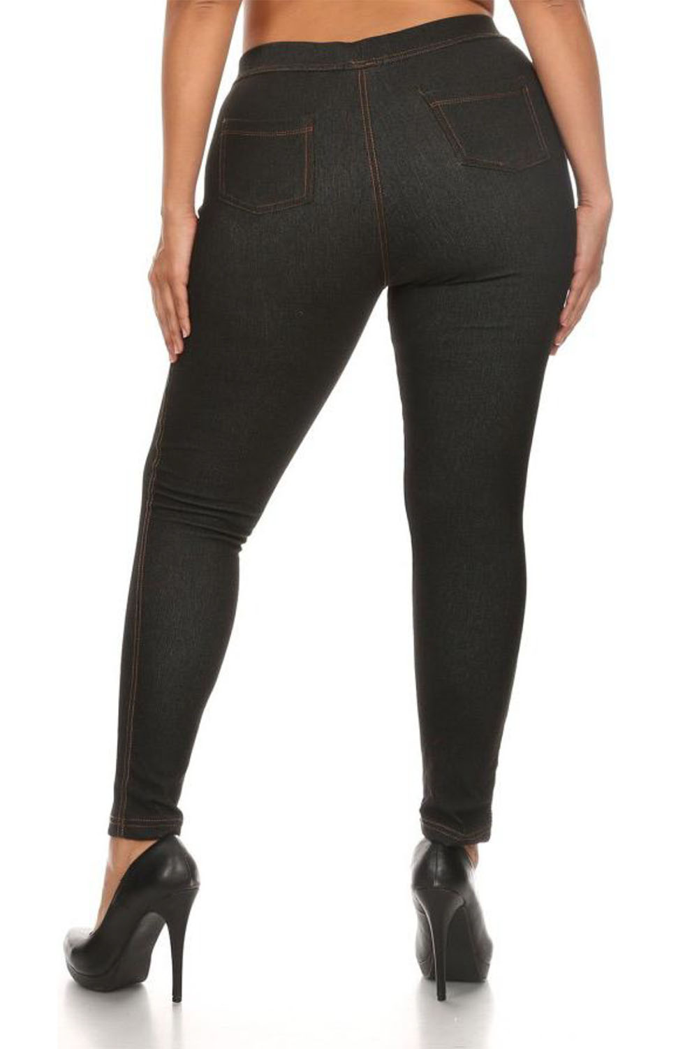 Denim look leggings with fleece lining