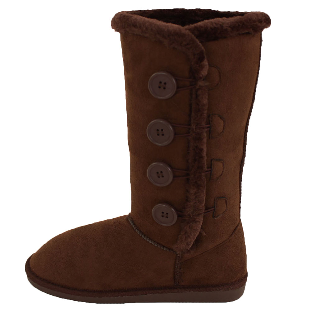 Womens Fur Boots Buttons Mid Calf Tall Snow Shoes Faux Suede ...