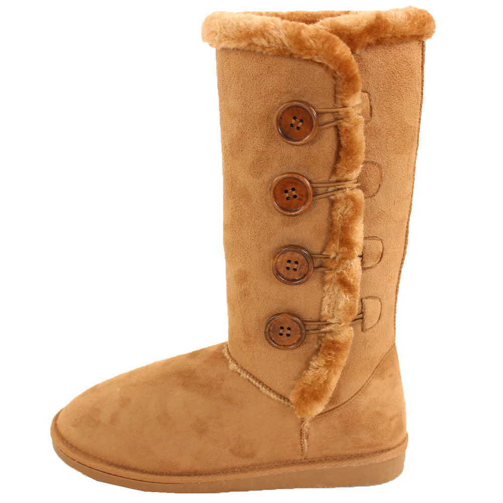 Womens Fur Boots Buttons Mid Calf Tall Snow Shoes Faux ...
