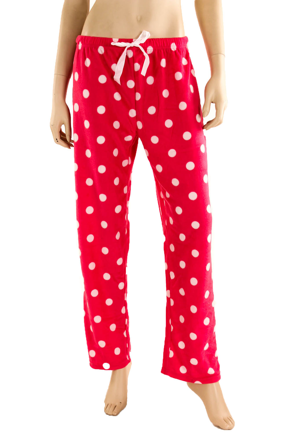 Beautiful Pink Heart Fleece Pajama Pants For Women