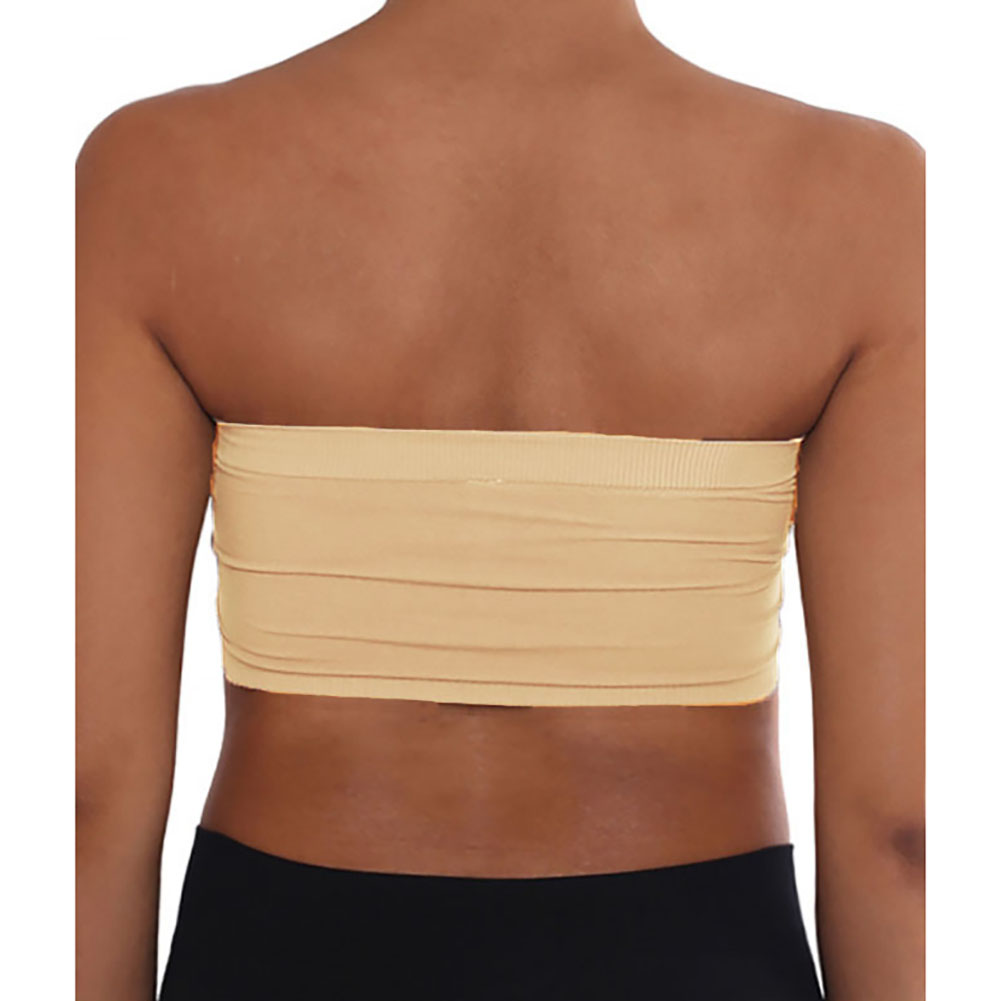 Womens Plus Size 2X//4X Strapless Padded Bra Bandeau Tube Top Removable Pads