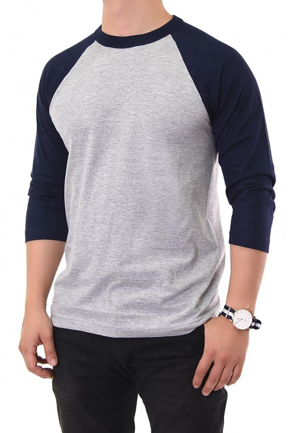 Mens 100 cotton 3 4 sleeve t shirt baseball jersey raglan for Baseball jersey t shirt custom