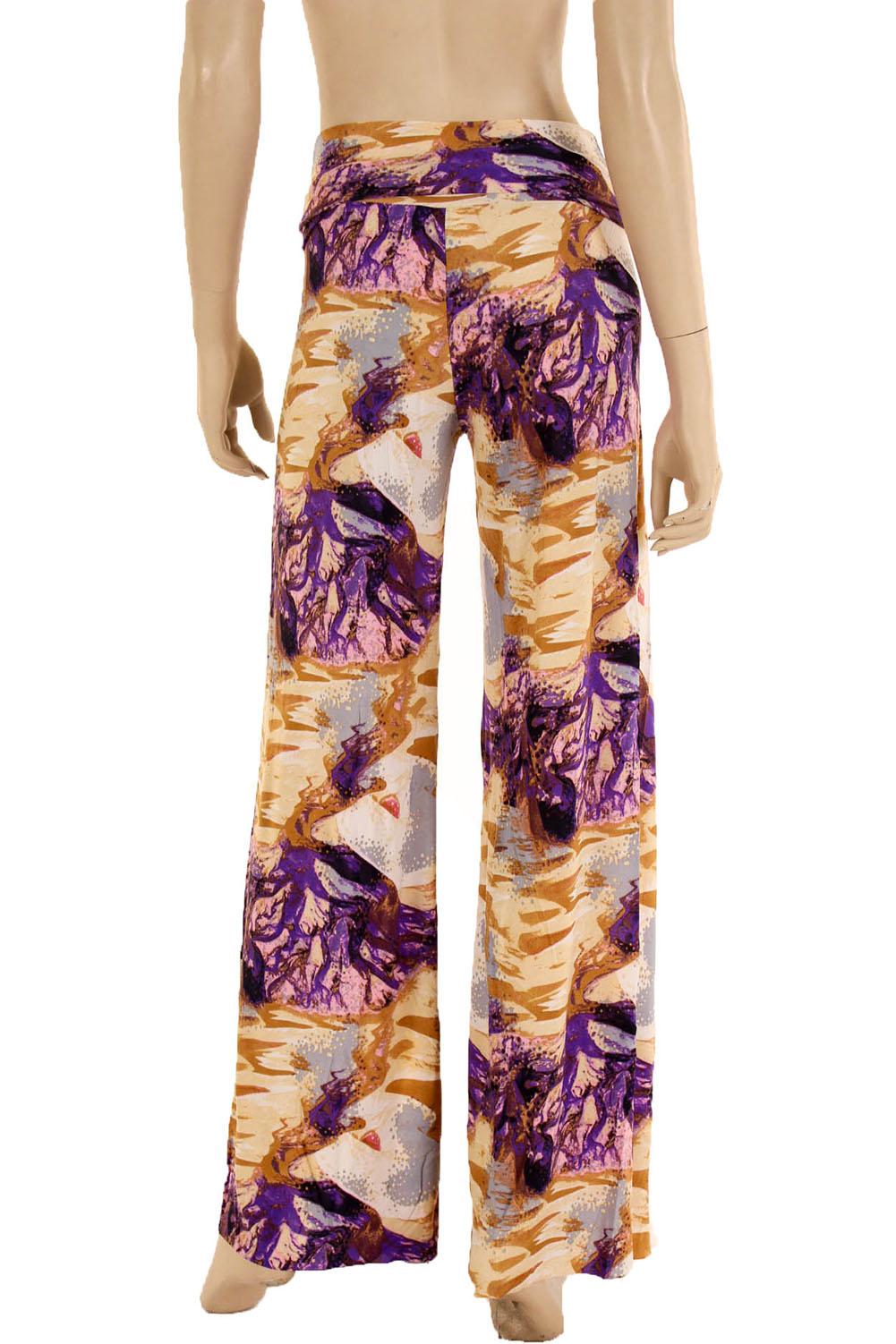 58930e7f4f23c Womens Palazzo Pants Wide Leg Loose Printed Stretch Long Bohemian ...