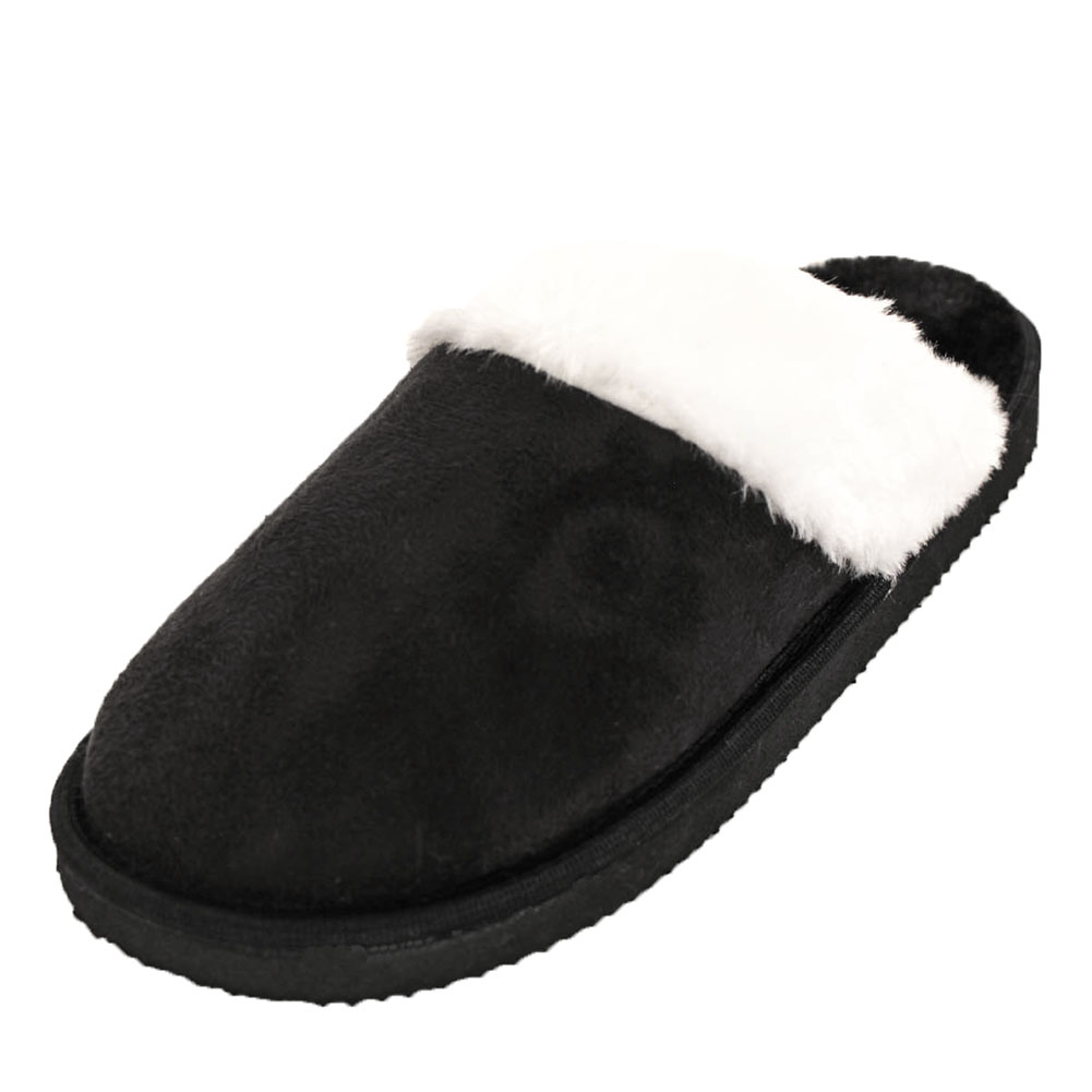 Womens Furry Slippers Faux Suede Fur Cozy Fuzzy