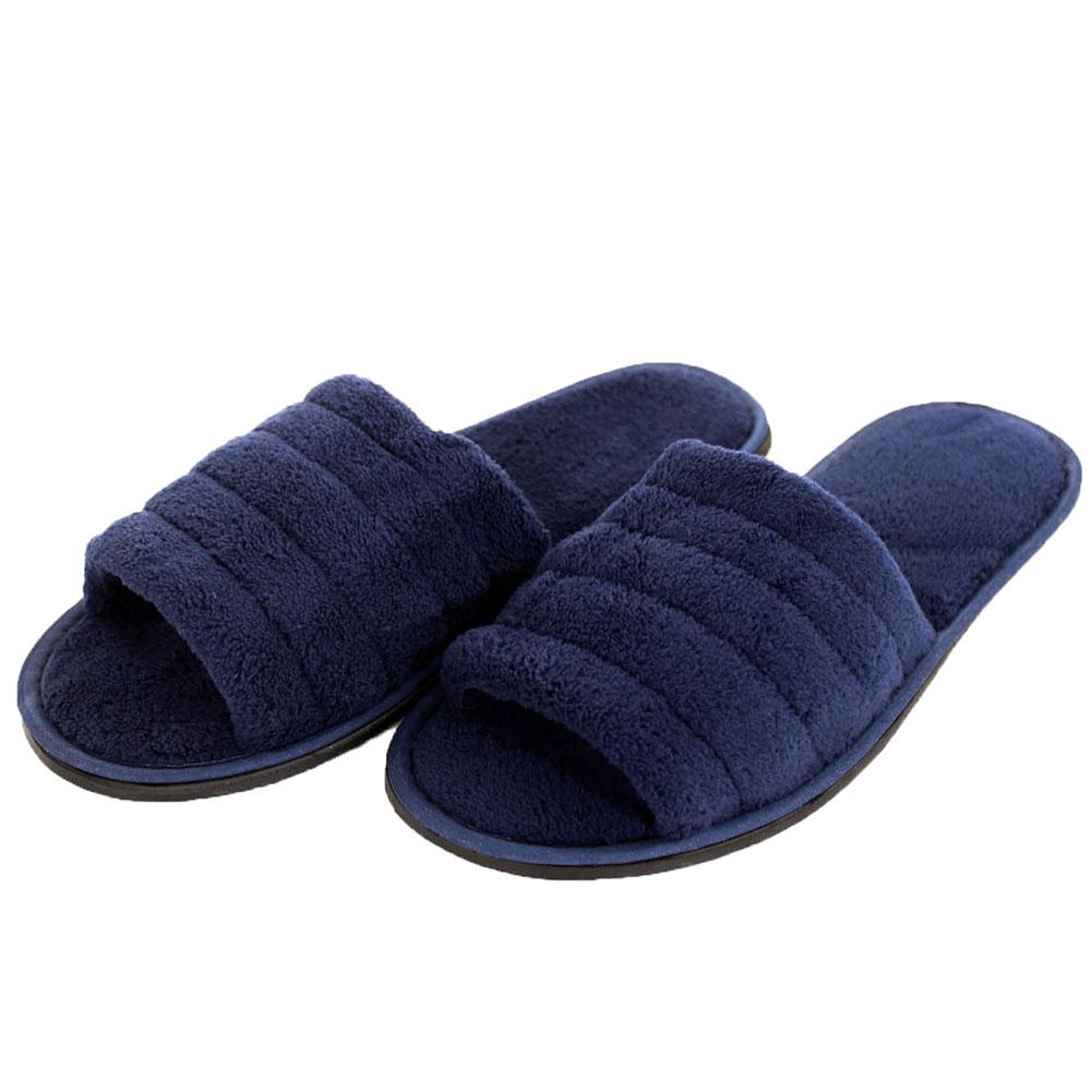 Mens Slippers Open Toe House Shoe Slip On Scuff Bath Soft