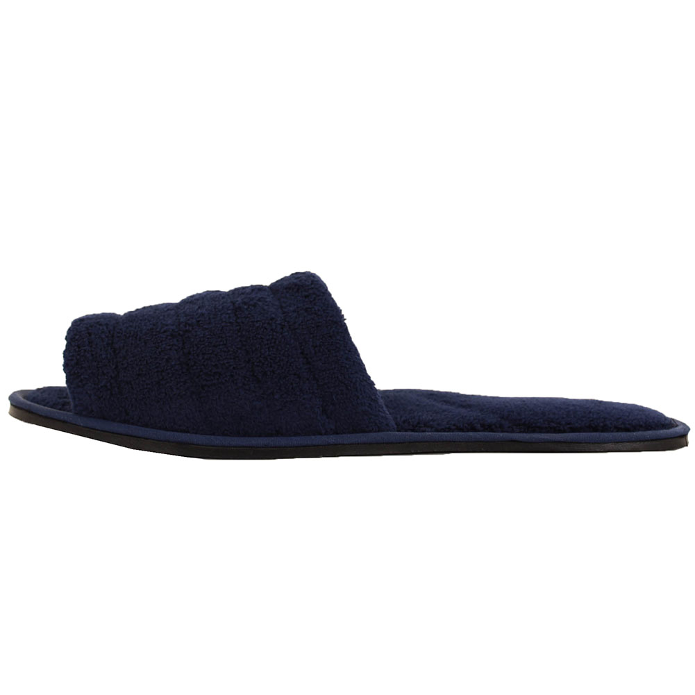 Mens Slippers Open Toe House Shoe Slip On Scuff Bath Soft Terry