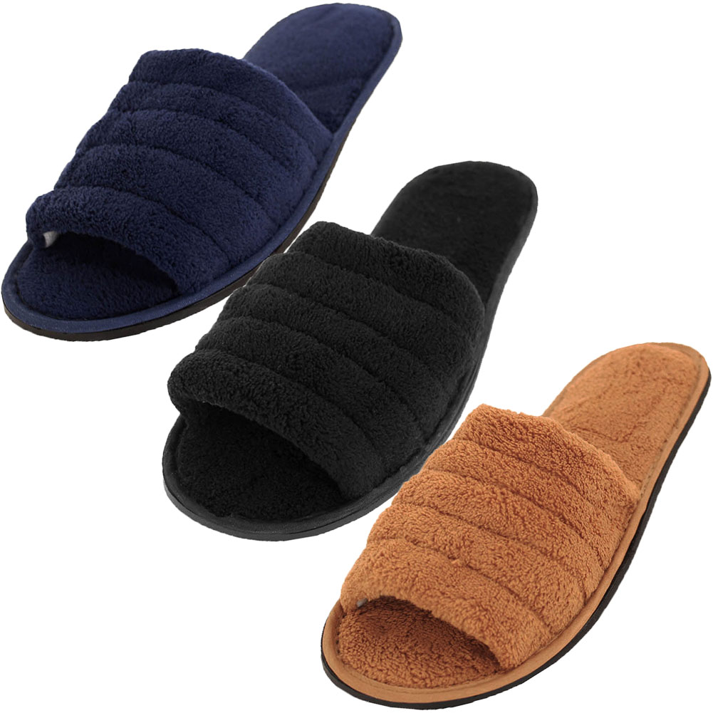 Mens Open Toe Terry Cloth Slippers