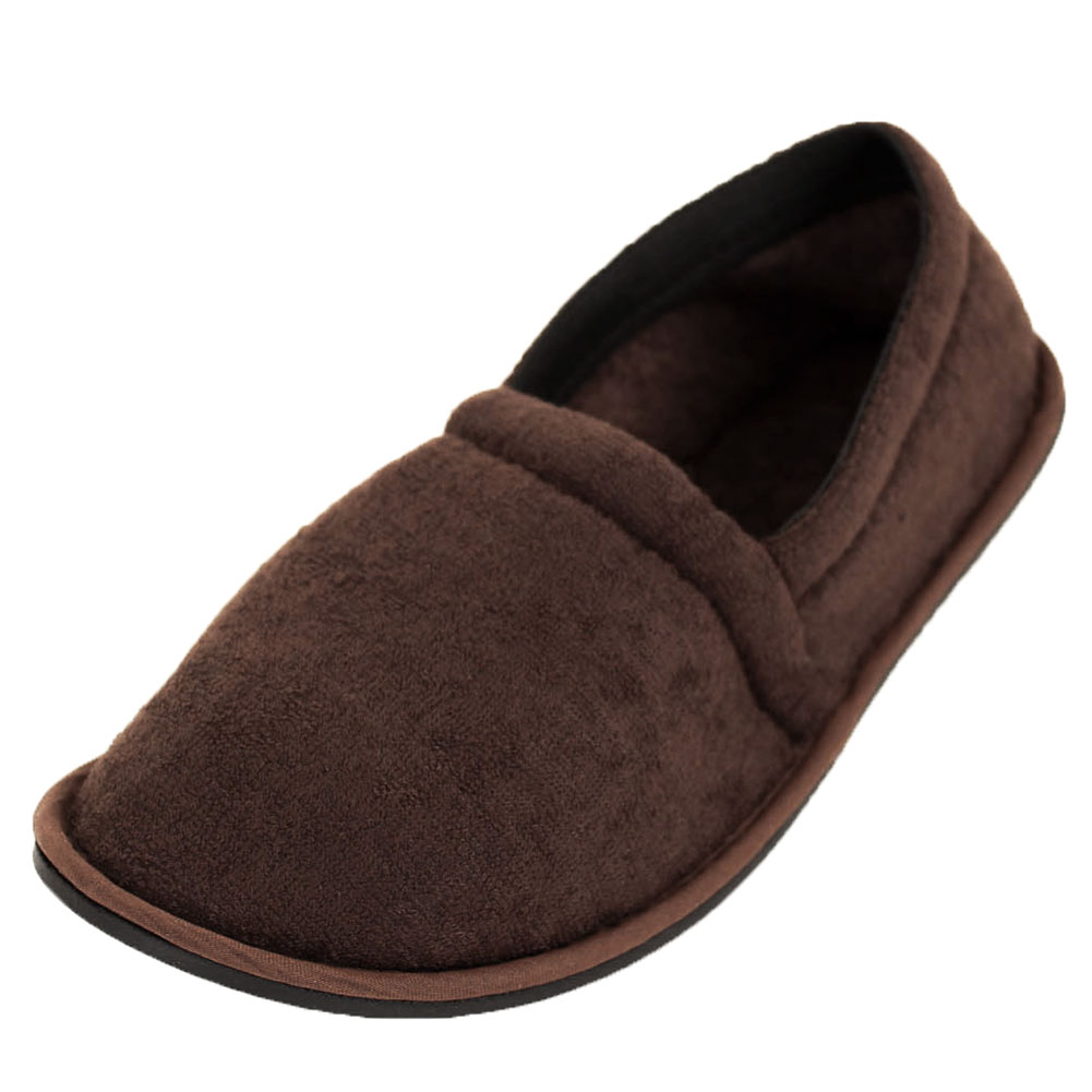 Mens Slippers House Shoes Terry Slip On Flexible Sole ...