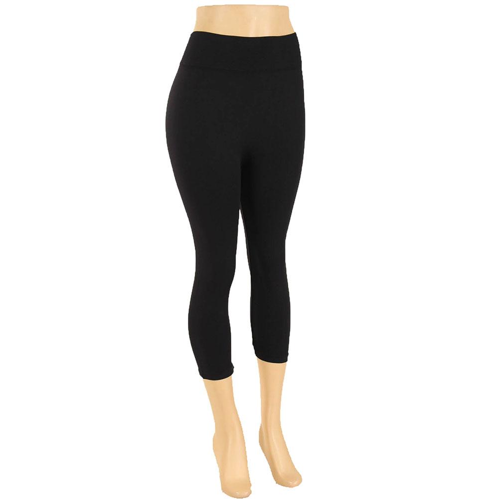 miniature 6 - Femmes Grande Taille Capri Leggings Court Stretch Pantalon Basique Solide Pour