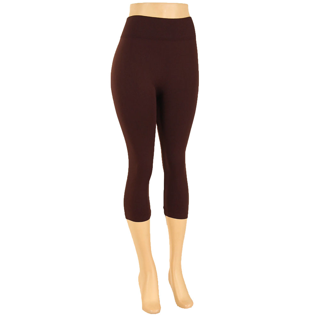 miniature 11 - Femmes Grande Taille Capri Leggings Court Stretch Pantalon Basique Solide Pour