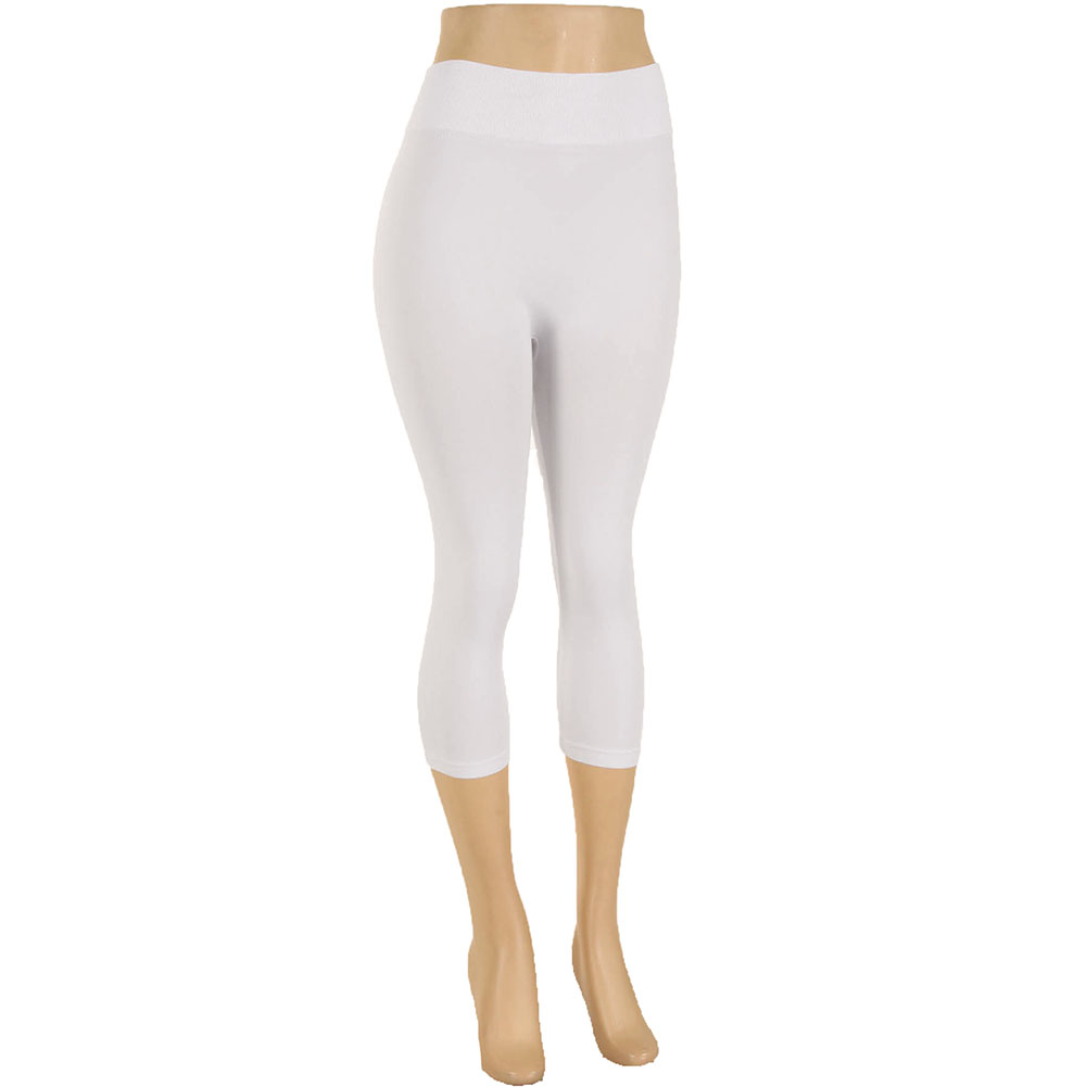 miniature 48 - Femmes Grande Taille Capri Leggings Court Stretch Pantalon Basique Solide Pour