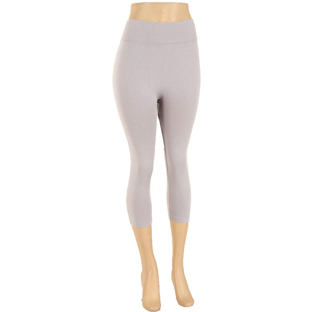 miniature 39 - Femmes Grande Taille Capri Leggings Court Stretch Pantalon Basique Solide Pour