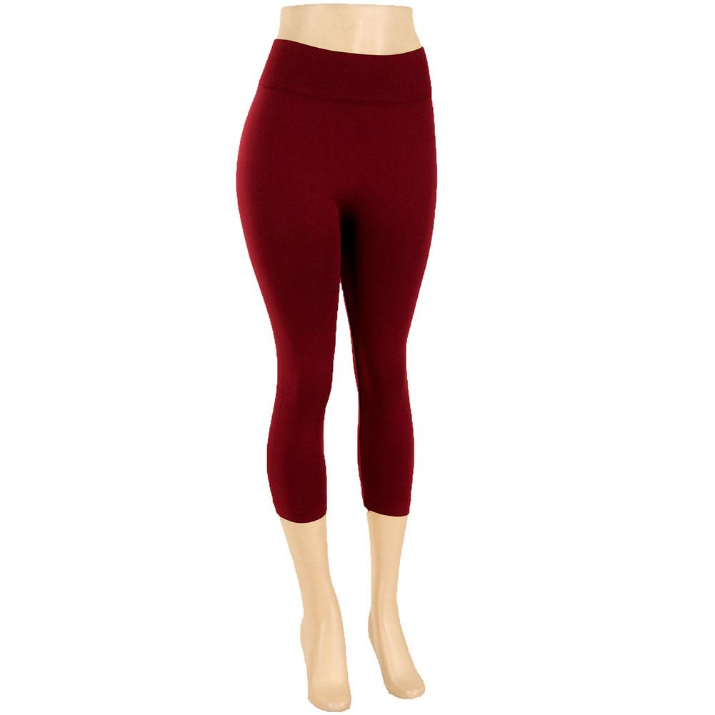 miniature 16 - Femmes Grande Taille Capri Leggings Court Stretch Pantalon Basique Solide Pour