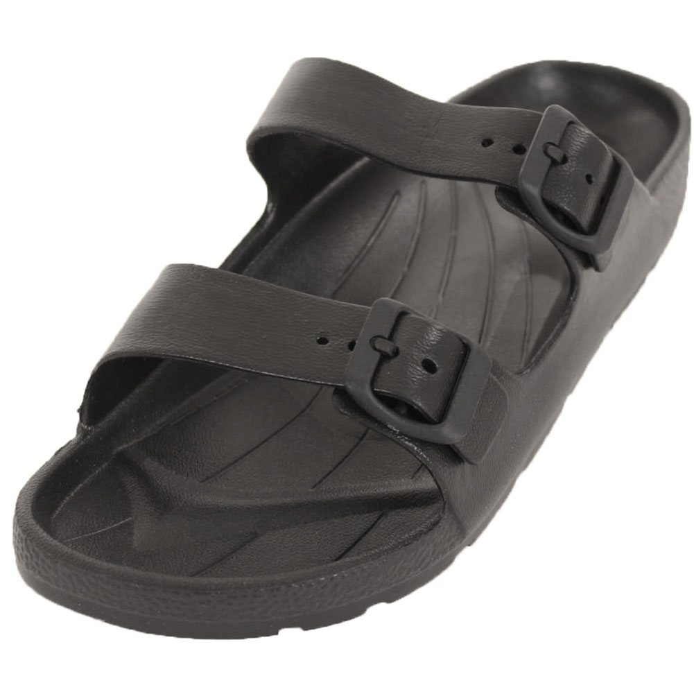 f8ba7bf7c Mens Slip On Buckle Sandals Slides Rubber Shoes Outdoor Casual Strap ...