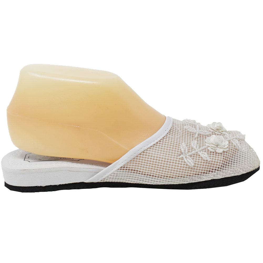 Women Flat Indoor Slippers Beads Sequin Floral Mesh Home Shoes Slip On Sandal