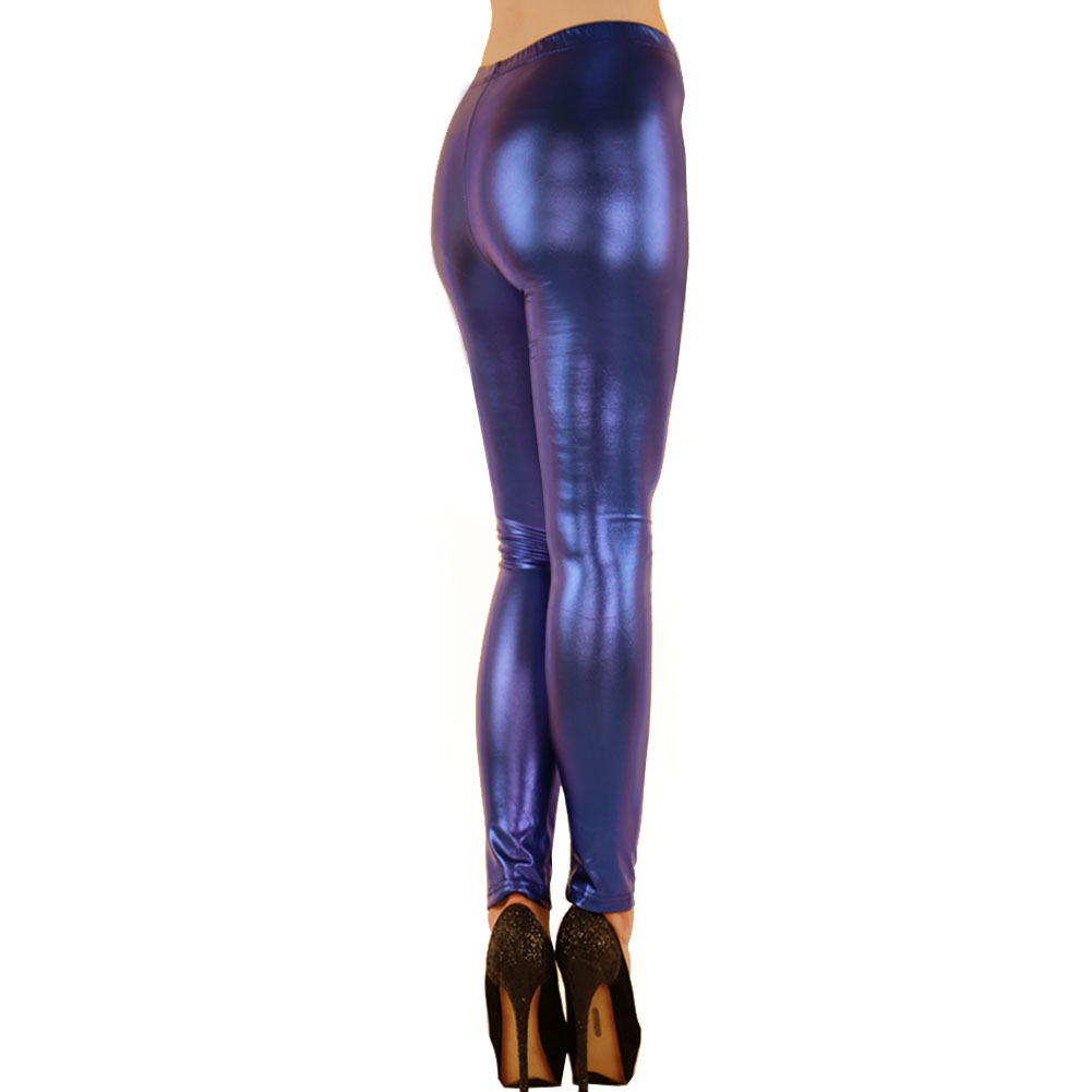 Womens Metallic Shiny High Waist Color Leggings Full Length Holiday Party Club