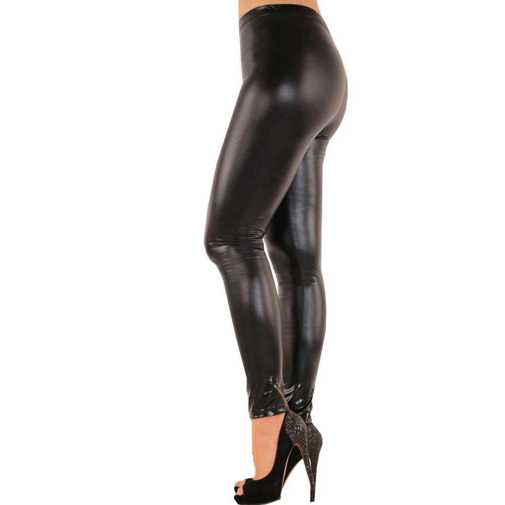 77af9930de8ec Womens Liquid Metallic Shiny High Waist Wet Look Leggings Full ...