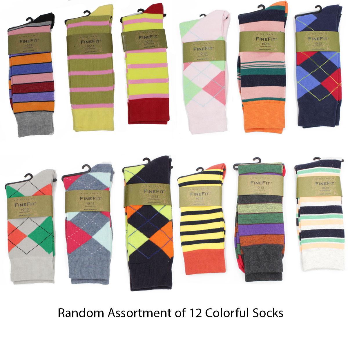 Mens Designer Fashion Dress Socks Stripes Color Argyle Print New