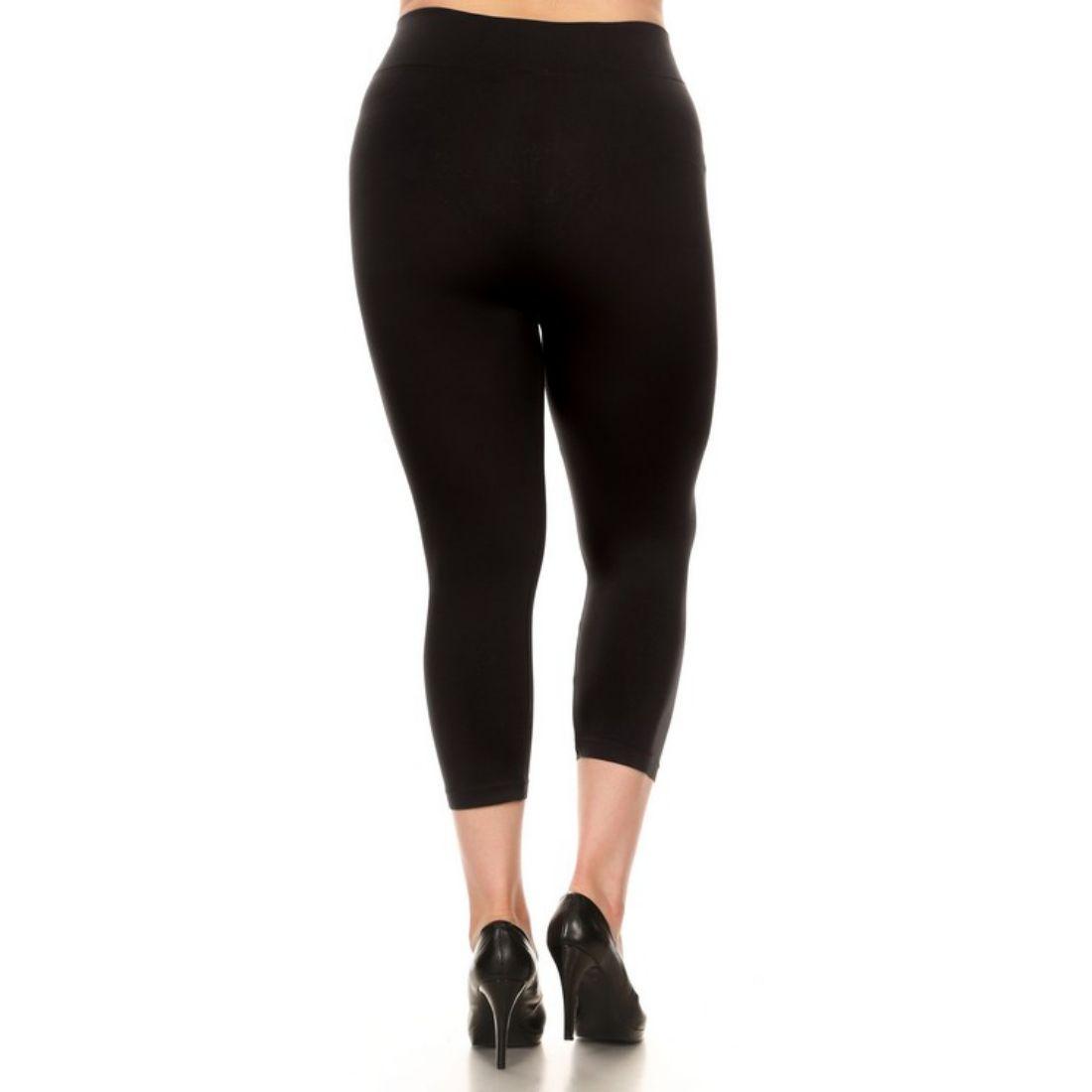 miniature 4 - Femmes Grande Taille Capri Leggings Court Stretch Pantalon Basique Solide Pour