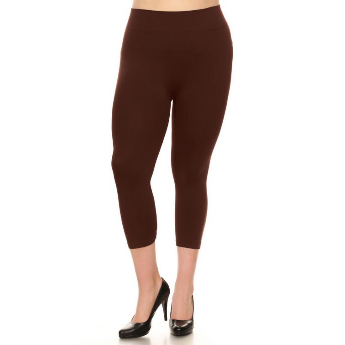 miniature 8 - Femmes Grande Taille Capri Leggings Court Stretch Pantalon Basique Solide Pour