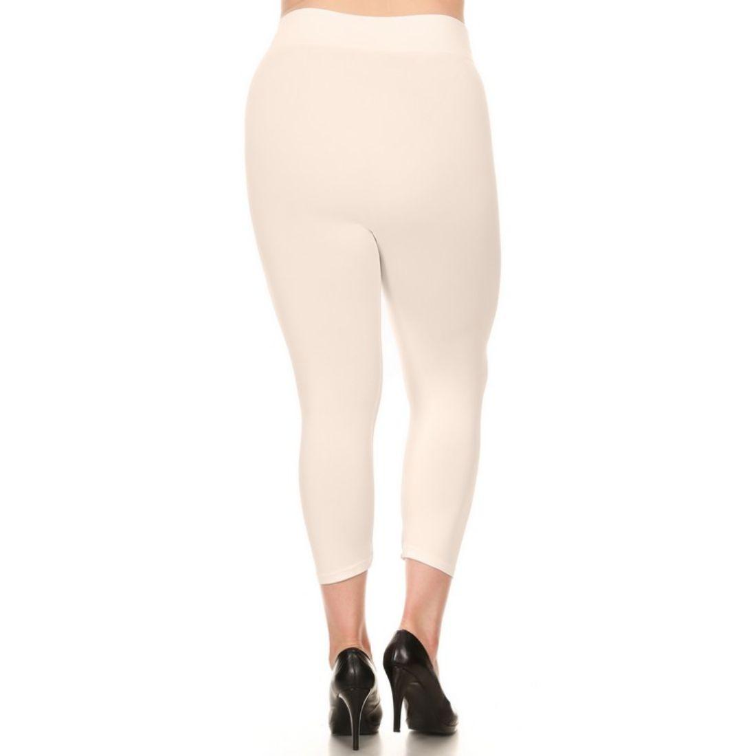 miniature 45 - Femmes Grande Taille Capri Leggings Court Stretch Pantalon Basique Solide Pour