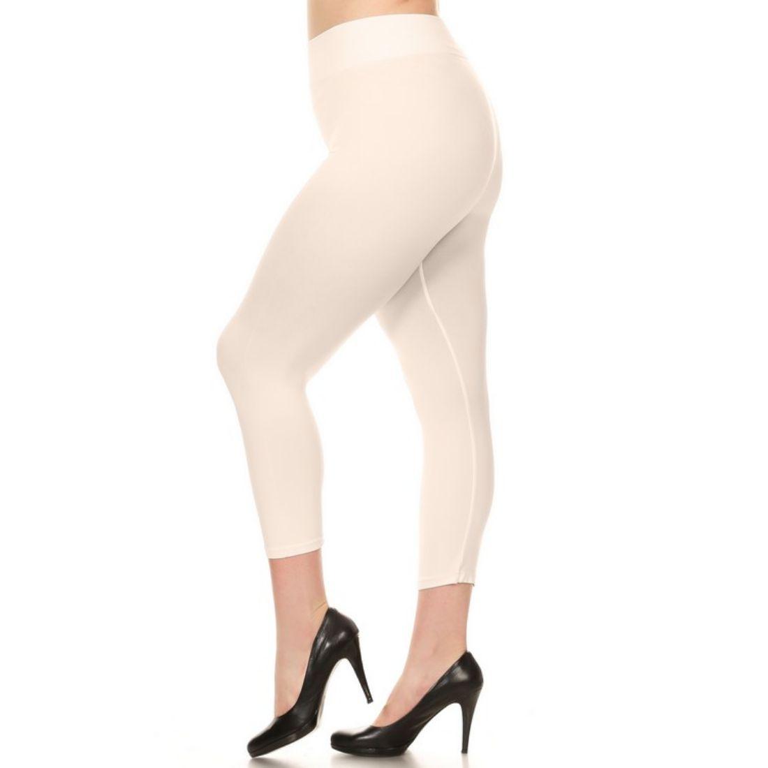 miniature 46 - Femmes Grande Taille Capri Leggings Court Stretch Pantalon Basique Solide Pour