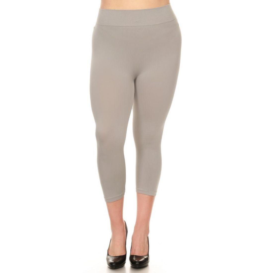 miniature 36 - Femmes Grande Taille Capri Leggings Court Stretch Pantalon Basique Solide Pour