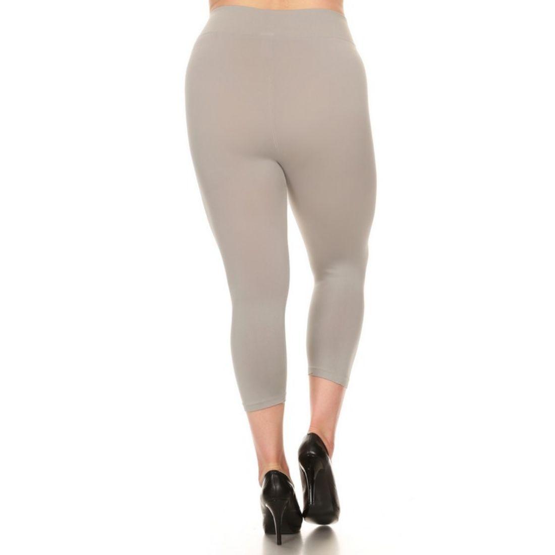 miniature 37 - Femmes Grande Taille Capri Leggings Court Stretch Pantalon Basique Solide Pour
