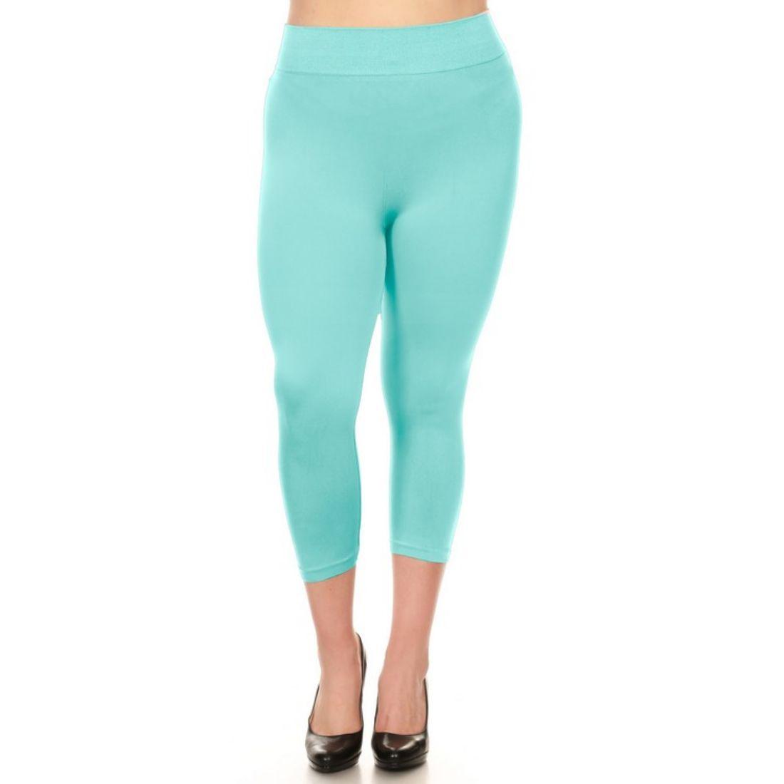 miniature 41 - Femmes Grande Taille Capri Leggings Court Stretch Pantalon Basique Solide Pour