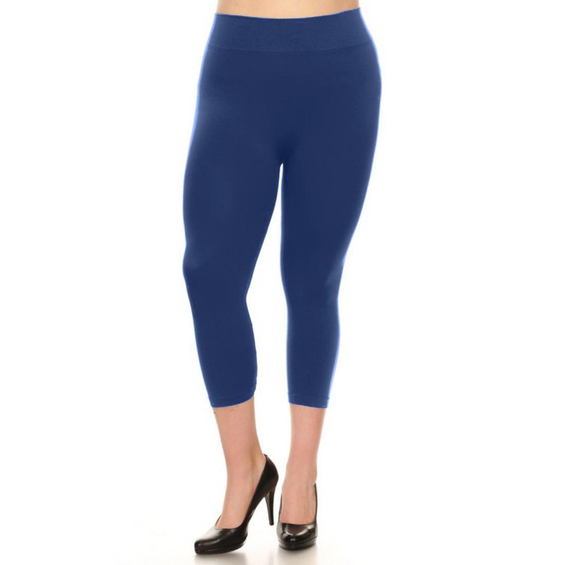 miniature 31 - Femmes Grande Taille Capri Leggings Court Stretch Pantalon Basique Solide Pour