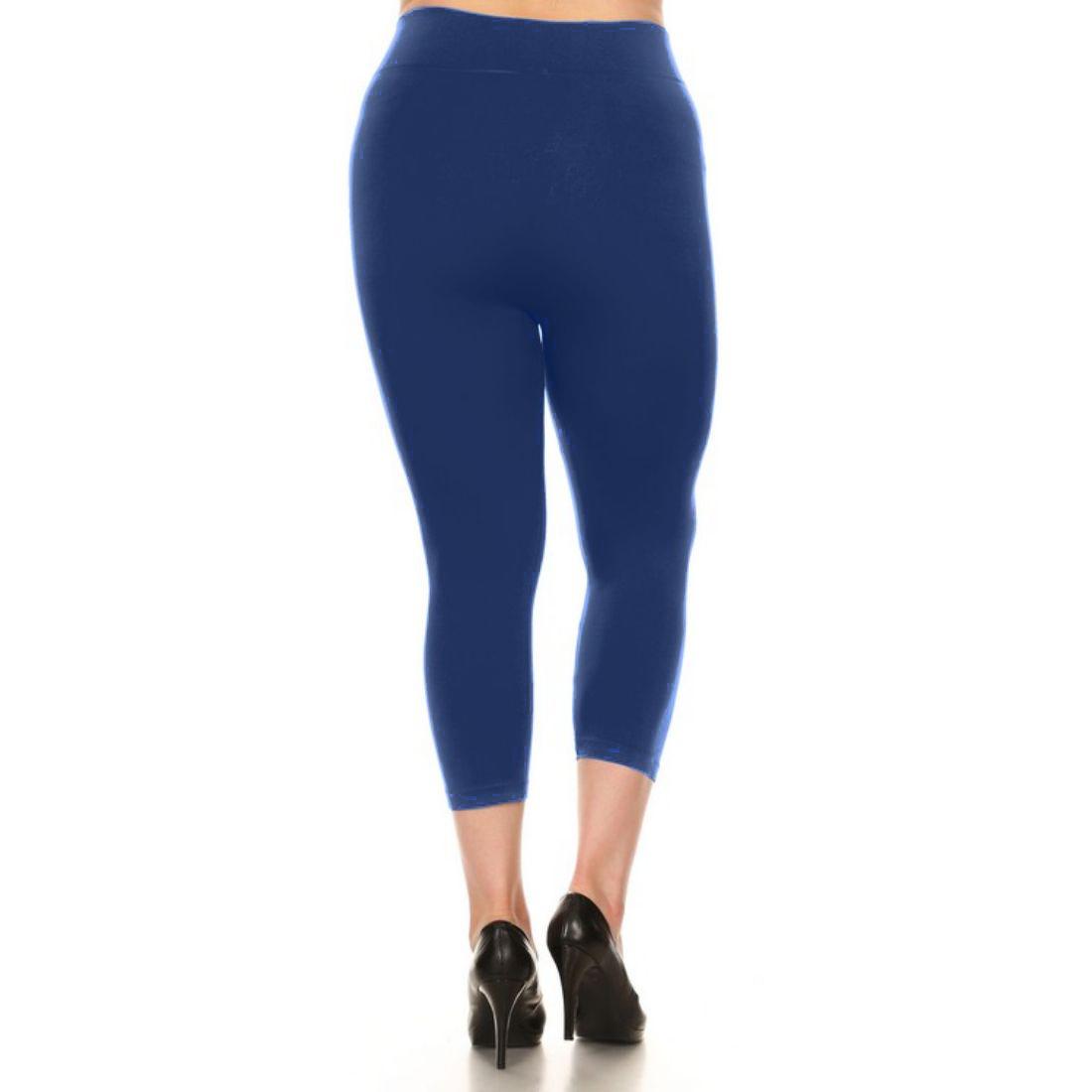 miniature 32 - Femmes Grande Taille Capri Leggings Court Stretch Pantalon Basique Solide Pour