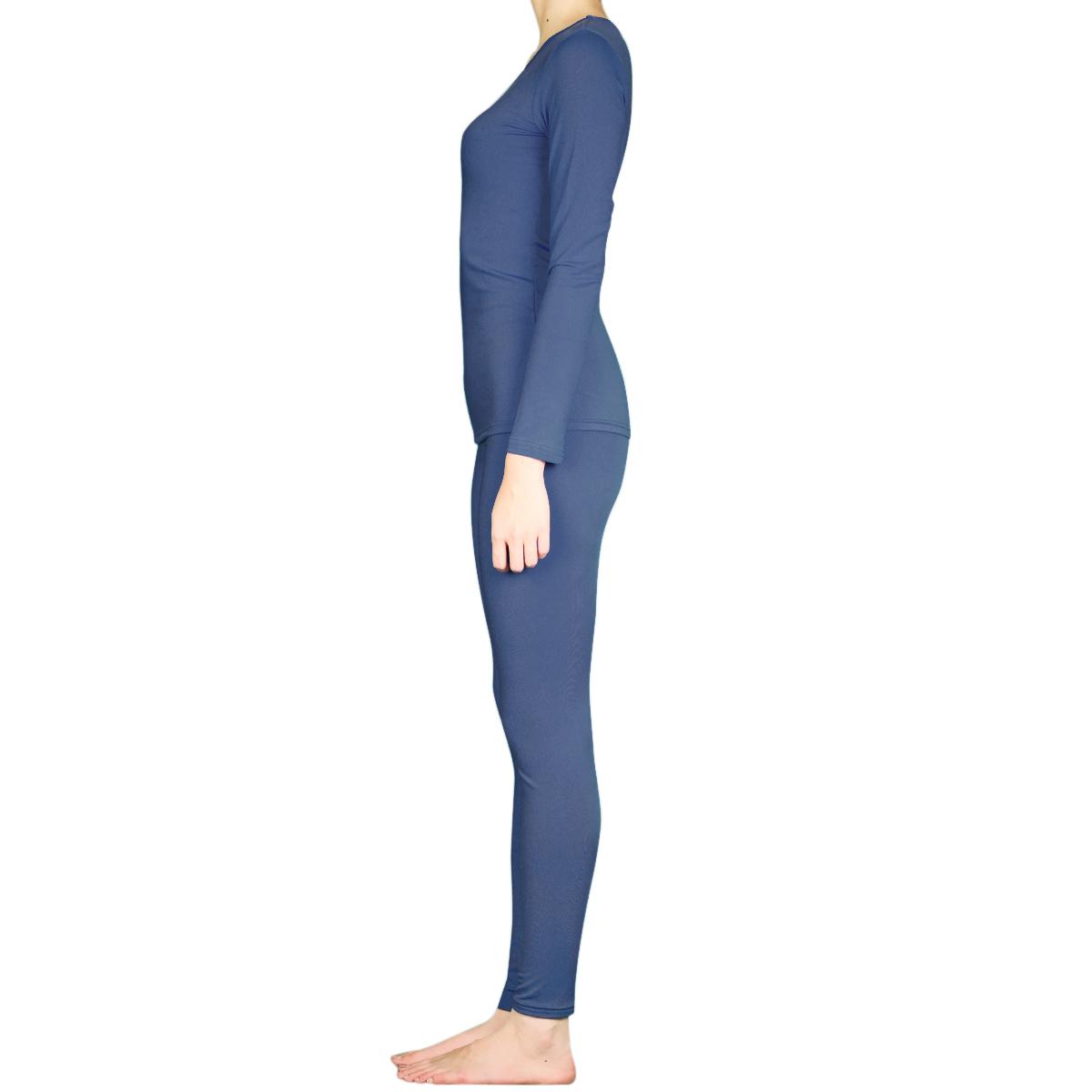 Femme 2pc Microfibre Sous-Vêtements Thermiques Set Long Johns Top Pantalon