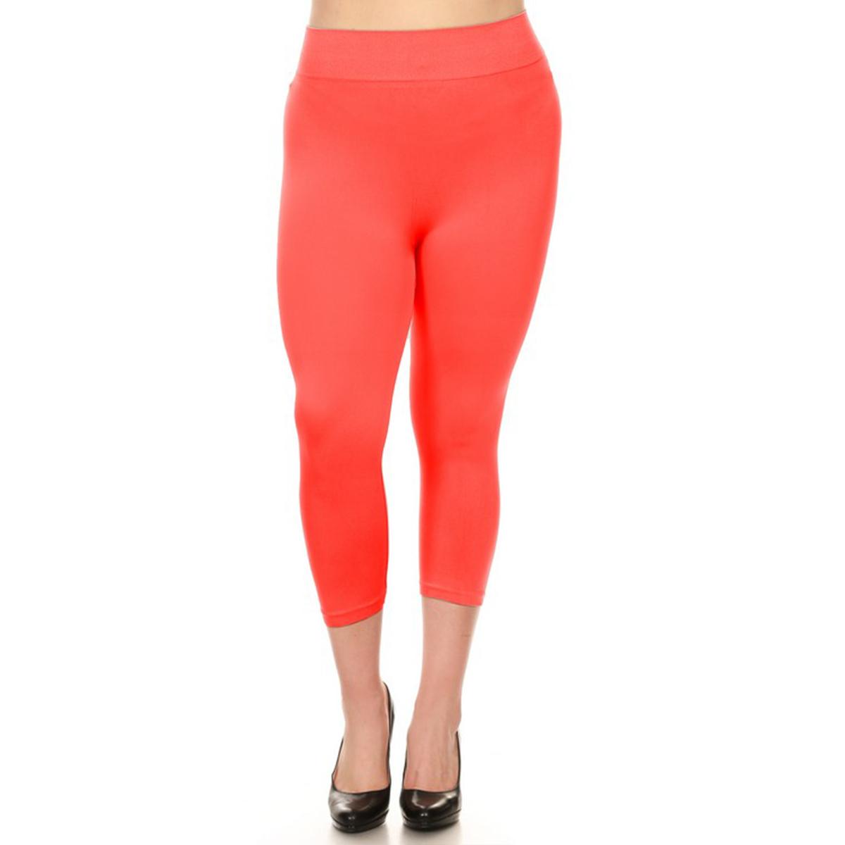 miniature 18 - Femmes Grande Taille Capri Leggings Court Stretch Pantalon Basique Solide Pour