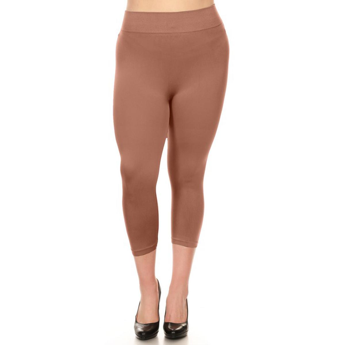 miniature 27 - Femmes Grande Taille Capri Leggings Court Stretch Pantalon Basique Solide Pour