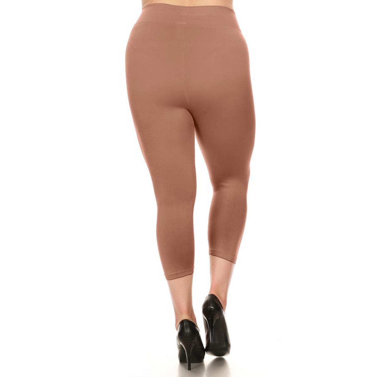 miniature 28 - Femmes Grande Taille Capri Leggings Court Stretch Pantalon Basique Solide Pour