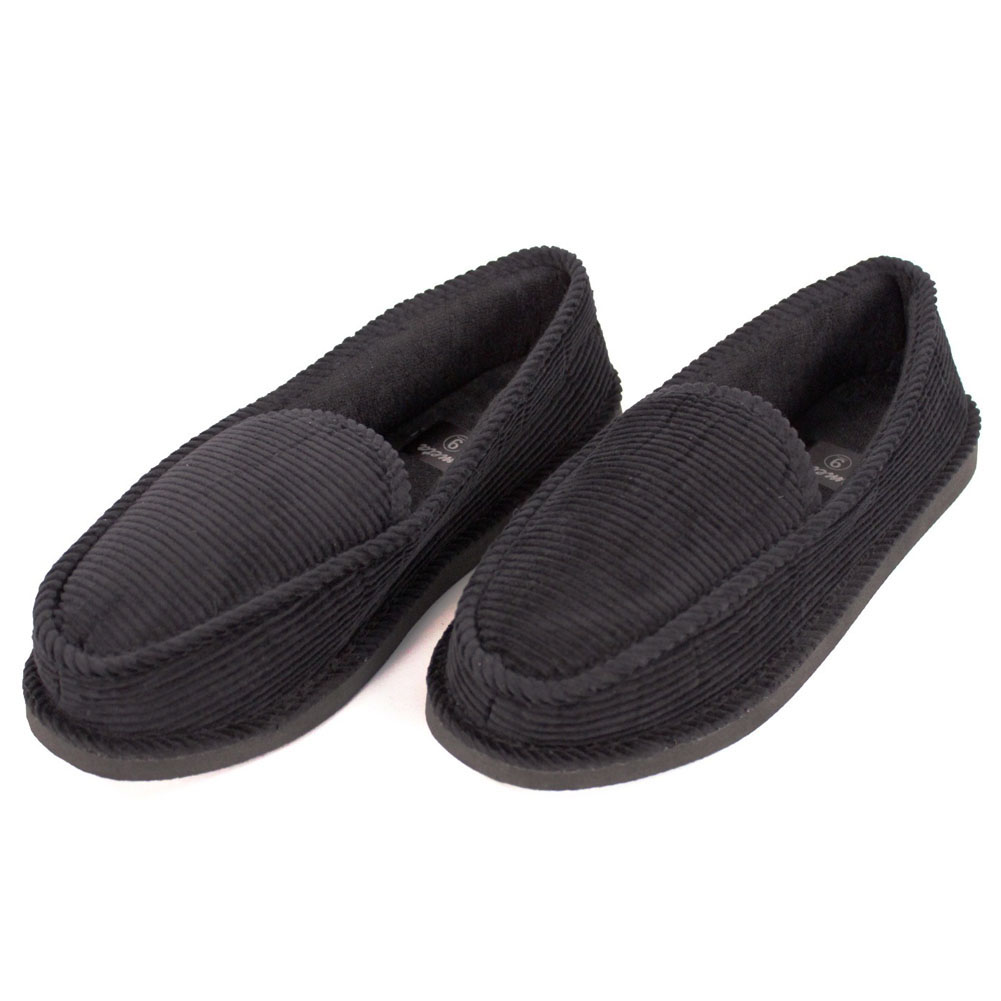Mens Slippers House Shoes Black Corduroy Moccasin Slip On ...