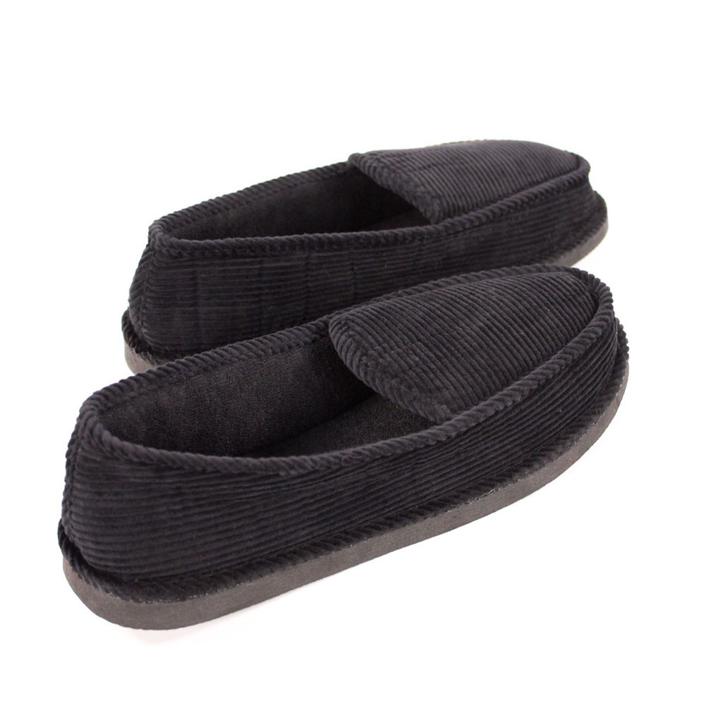 Mens Slippers House Shoes Black Corduroy Moccasin Slip On Indoor Outdoor Comf