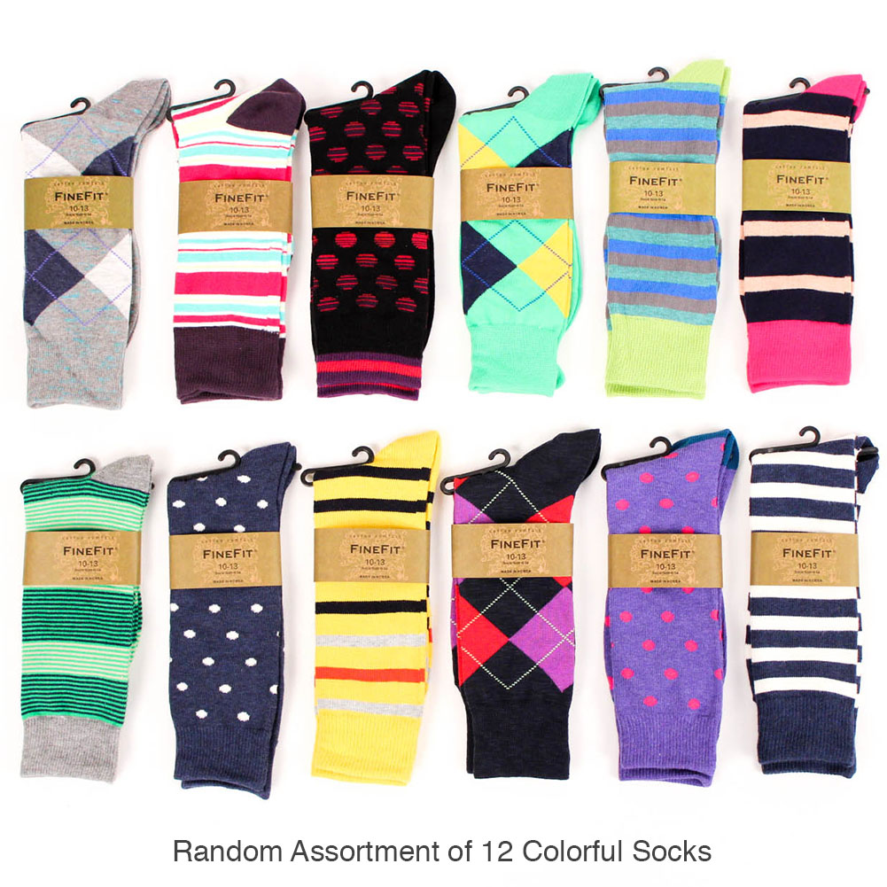 fb07249c0e35 Details about 12 Pairs Mens Colorful Dress Socks Stripes Argyle Pattern  Designer Fashion Lot
