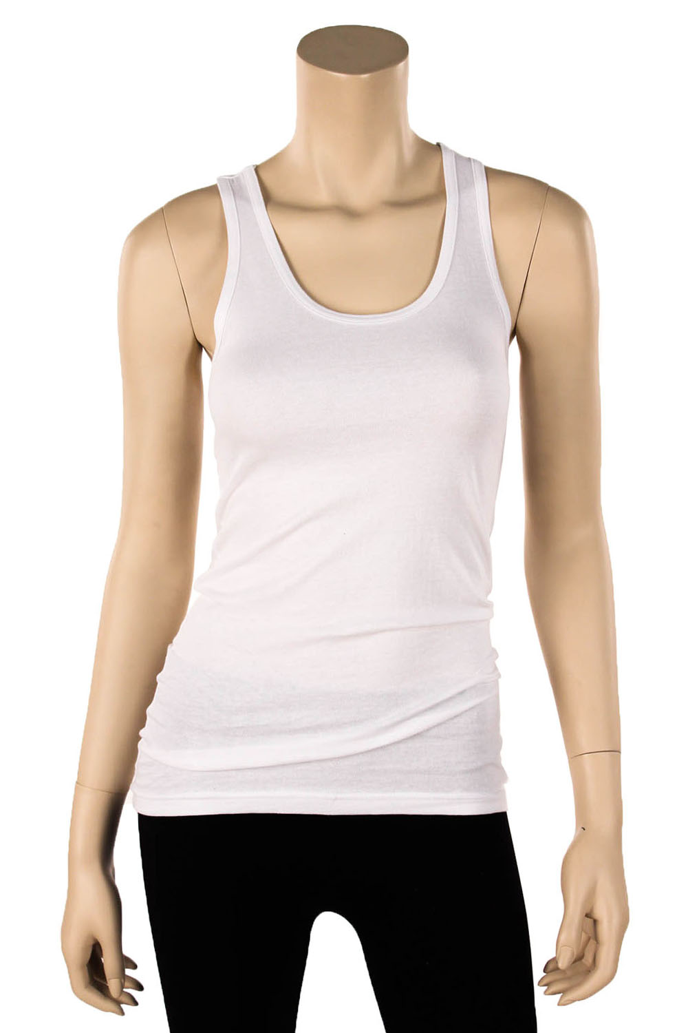 Womens 100% Cotton Racerback Tank Top Basic Cami Solid Tee Shirt ...