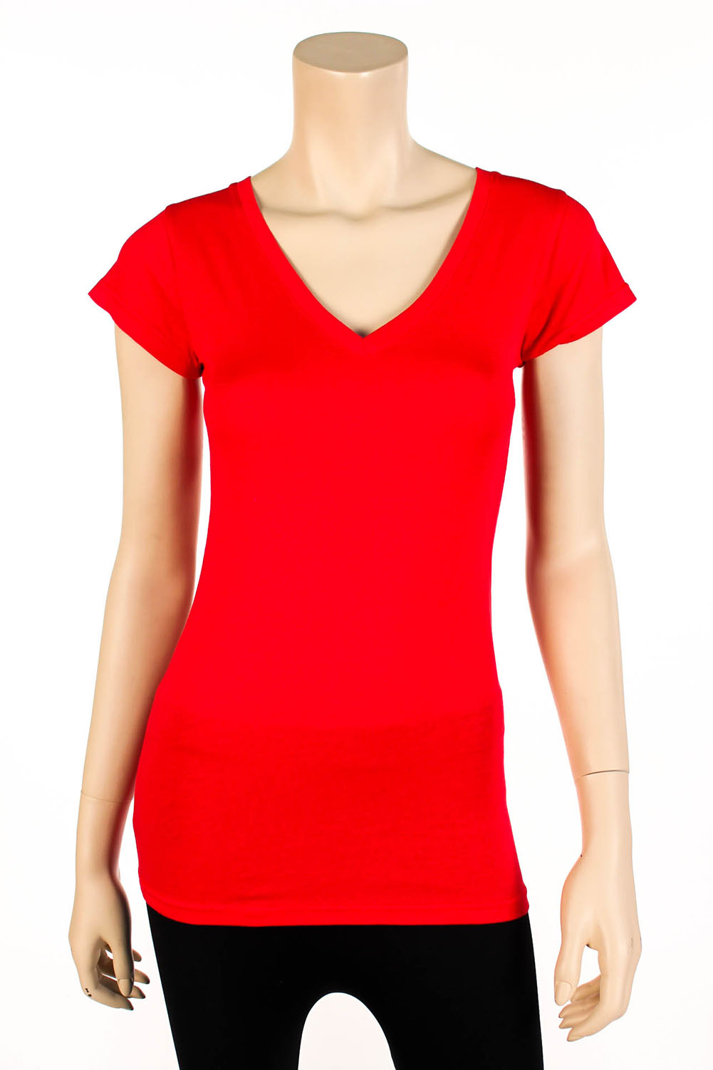 Womens Basic V Neck T Shirt Short Sleeve Cotton Solid