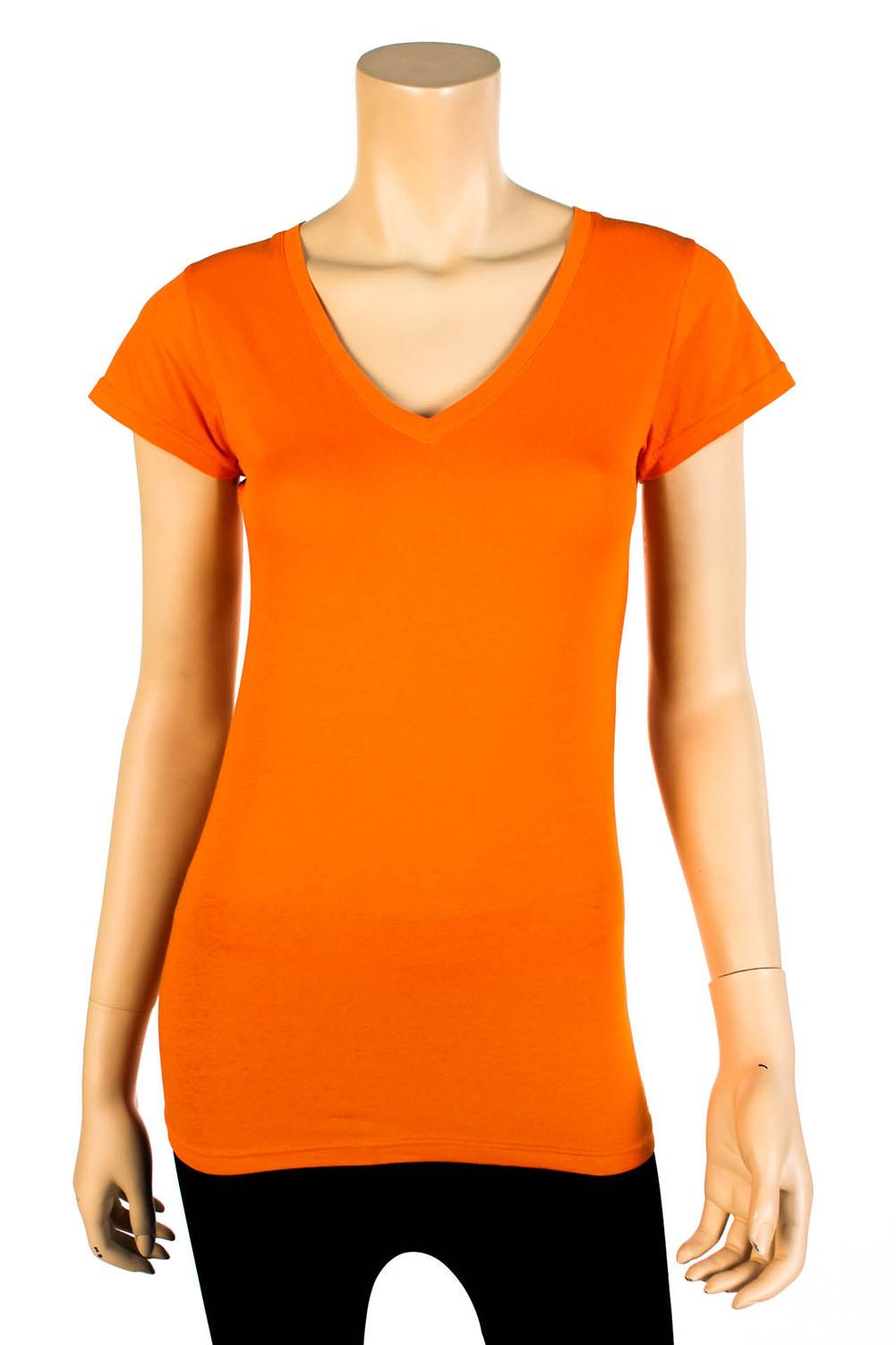 Womens basic v neck t shirt short sleeve cotton solid for Womens v neck t shirts