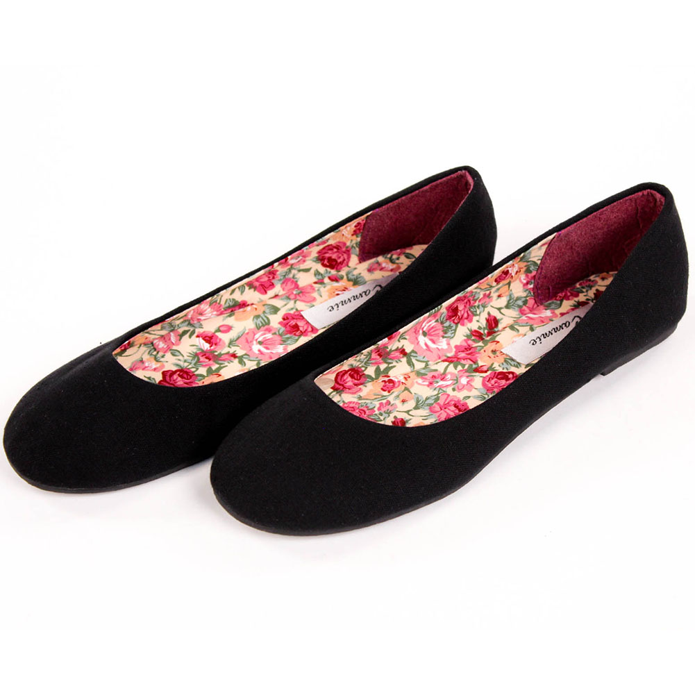 womens canvas ballet flats slip on casual shoes plain