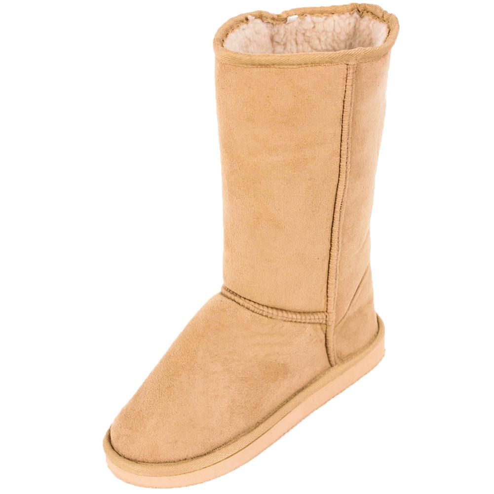 womens fur boots faux sheepskin suede mid calf
