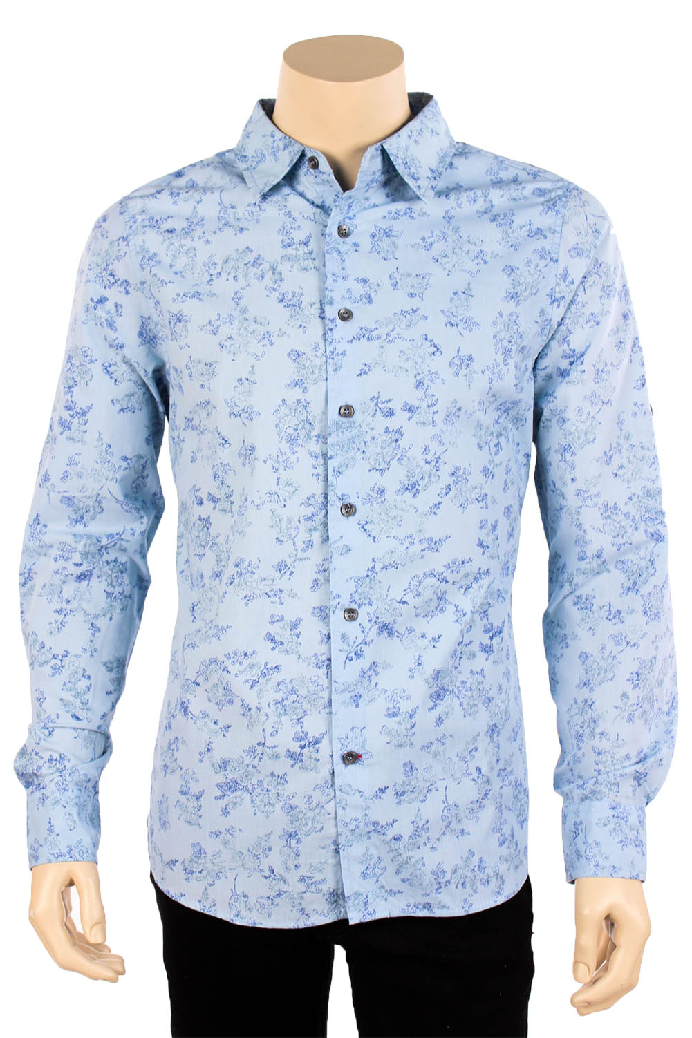 Mens Floral Print Long Sleeve Casual Dress Shirt Button