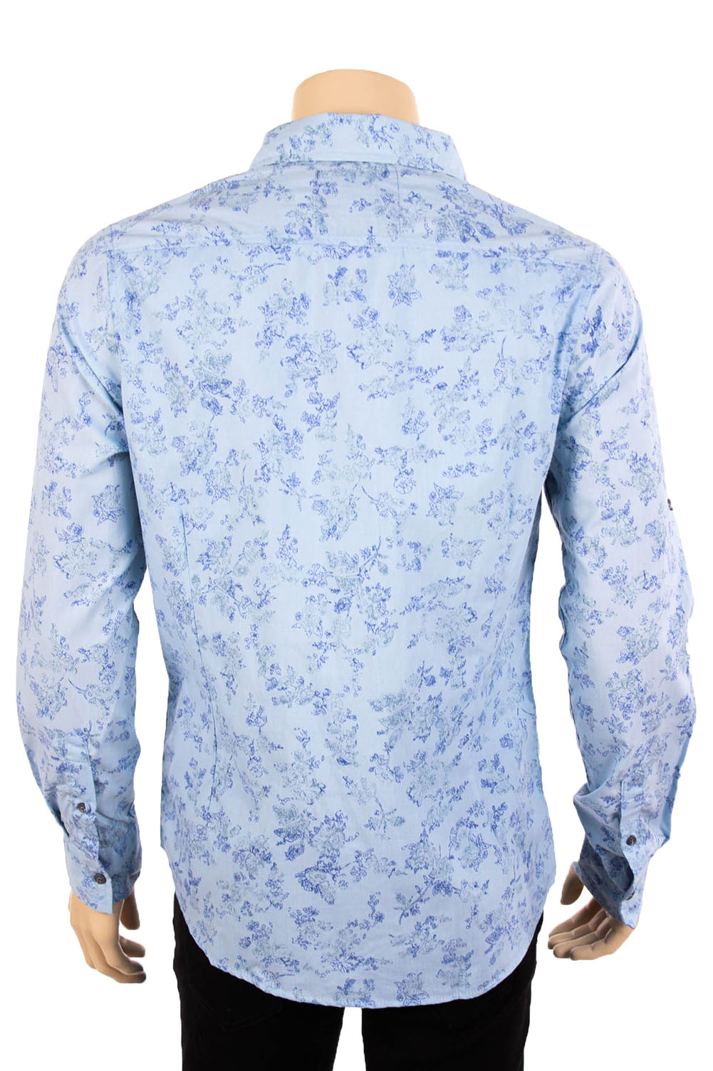 Mens floral print long sleeve casual dress shirt button for Custom pattern button down shirts