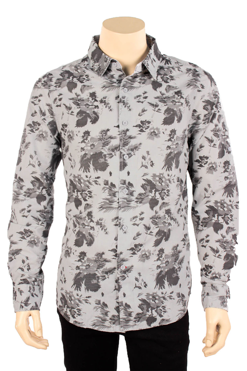 Mens floral print long sleeve casual dress shirt button for Long sleeve shirt pattern