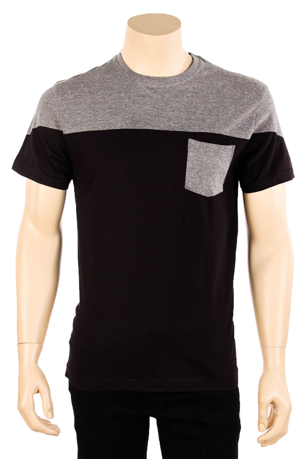 Mens pocket t shirt short sleeve print two tone color for Tri blend custom t shirts