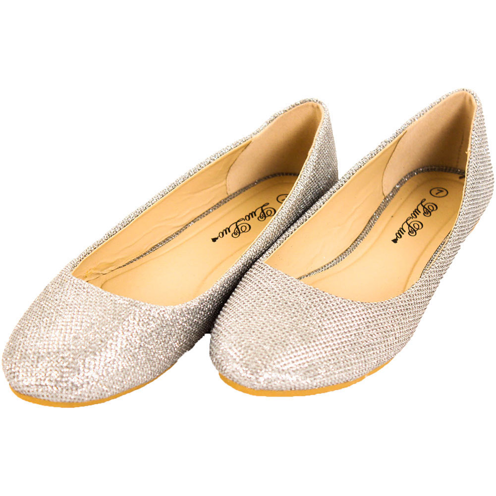 Girls' classic glitter ballet flats Item Product Details. This pretty pair of ballet flats is finished with showstopping sparkle (the glitter is sourced from a special mill in the UK—because we only use the best). So basically, they're the shoes she'll want to wear every day.